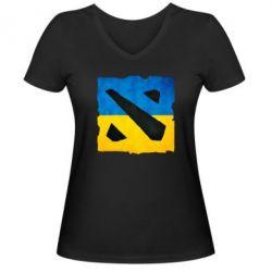 Женская футболка с V-образным вырезом Dota 2 Ukraine Team - FatLine