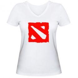 Женская футболка с V-образным вырезом Dota Logo Дота - FatLine