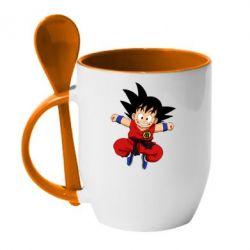 Кружка з керамічною ложкою Dragon ball Son Goku
