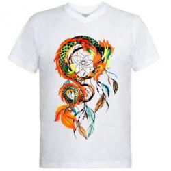 Мужская футболка  с V-образным вырезом Dragon catcher dreams