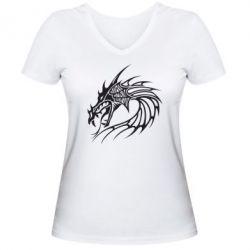 Женская футболка с V-образным вырезом Dragon - FatLine