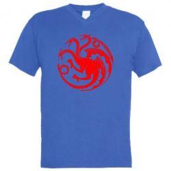 Мужская футболка  с V-образным вырезом Dragons 3