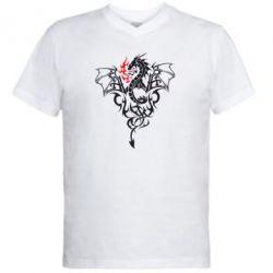 Мужская футболка  с V-образным вырезом Дракон