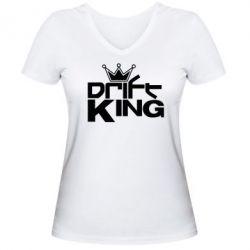 Женская футболка с V-образным вырезом Drift King - FatLine