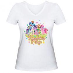 Жіноча футболка з V-подібним вирізом Дружба це чудо - FatLine