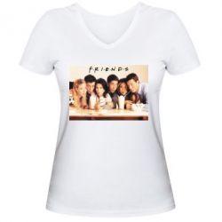 Женская футболка с V-образным вырезом Друзья в сборе