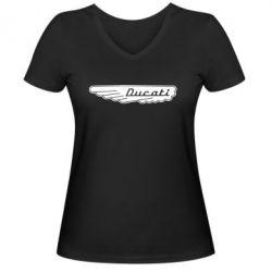 Женская футболка с V-образным вырезом Ducati Motors