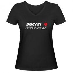 Женская футболка с V-образным вырезом Ducati Perfomance - FatLine