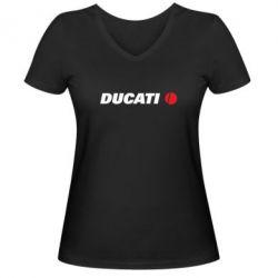 Женская футболка с V-образным вырезом Ducati - FatLine
