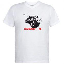 Мужская футболка  с V-образным вырезом Dukati - FatLine
