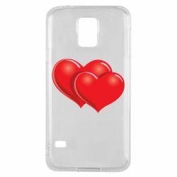 Чехол для Samsung S5 Два сердца