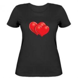 Женская футболка Два сердца - FatLine