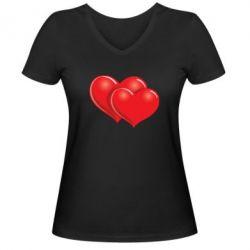 Женская футболка с V-образным вырезом Два сердца - FatLine