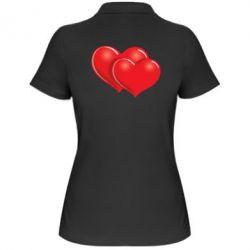 Женская футболка поло Два сердца - FatLine