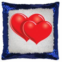Подушка-хамелеон Два сердца