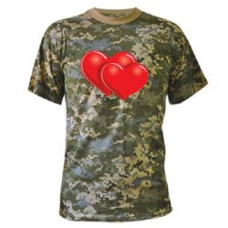 Камуфляжная футболка Два сердца - FatLine