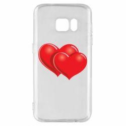 Чехол для Samsung S7 Два сердца