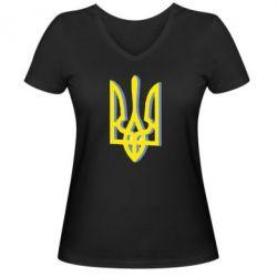 Жіноча футболка з V-подібним вирізом Двокольоровий герб України