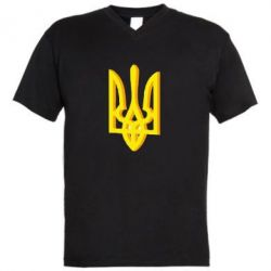 Мужская футболка  с V-образным вырезом Двокольоровий герб України - FatLine