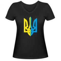 Женская футболка с V-образным вырезом Двокольоровий герб України - FatLine