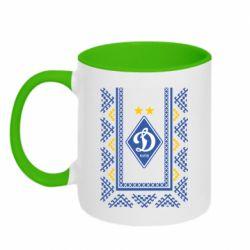 Кружка двухцветная 320ml Dynamo logo and ornament
