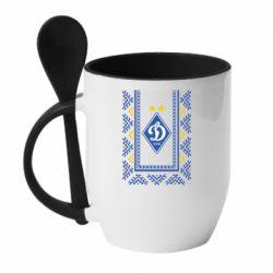 Кружка с керамической ложкой Dynamo logo and ornament