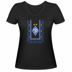 Женская футболка с V-образным вырезом Dynamo logo and ornament
