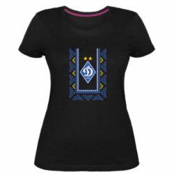 Женская стрейчевая футболка Dynamo logo and ornament