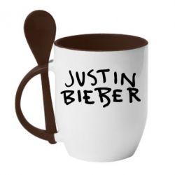 Кружка з керамічною ложкою Джастин Бибер