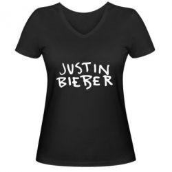 Женская футболка с V-образным вырезом Джастин Бибер