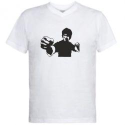 Мужская футболка  с V-образным вырезом Джеки Чан - FatLine