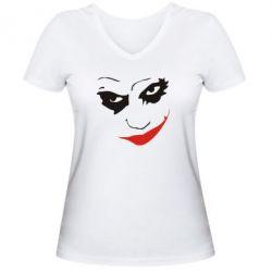 Женская футболка с V-образным вырезом Джокер - FatLine