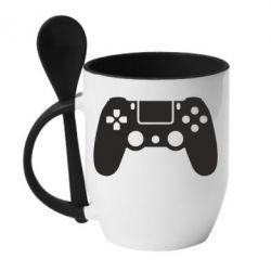 Кружка з керамічною ложкою Джойстик PS4