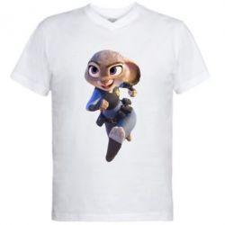 Мужская футболка  с V-образным вырезом Джуди Хопс - FatLine