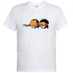Мужская футболка  с V-образным вырезом Джулс и Винсент - FatLine