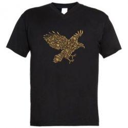 Мужская футболка  с V-образным вырезом Eagle feather