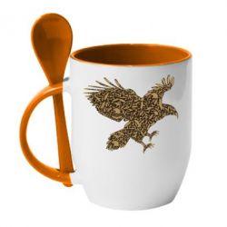 Кружка с керамической ложкой Eagle feather