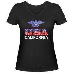 Женская футболка с V-образным вырезом Eagle USA - FatLine