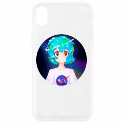 Чохол для iPhone XR Earth-chan in a T-shirt with a Nasa logo