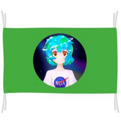 Прапор Earth-chan in a T-shirt with a Nasa logo