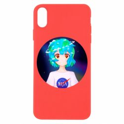 Чохол для iPhone X/Xs Earth-chan in a T-shirt with a Nasa logo