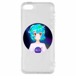 Чохол для iphone 5/5S/SE Earth-chan in a T-shirt with a Nasa logo