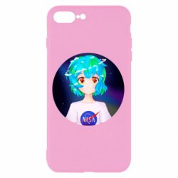 Чохол для iPhone 8 Plus Earth-chan in a T-shirt with a Nasa logo