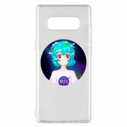 Чохол для Samsung Note 8 Earth-chan in a T-shirt with a Nasa logo