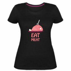 Женская стрейчевая футболка Eat meat