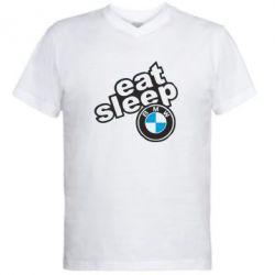 Мужская футболка  с V-образным вырезом Eat, sleep, BMW