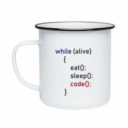 Кружка емальована Eat, Sleep, Code
