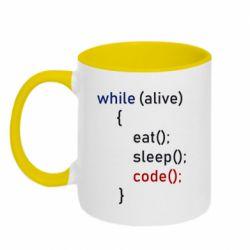 Кружка двоколірна 320ml Eat, Sleep, Code