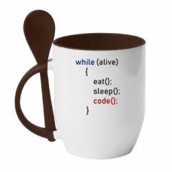 Кружка з керамічною ложкою Eat, Sleep, Code