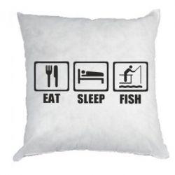 Подушка Eat, sleep, fish